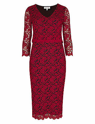 New M/&S Per Una Doube Layer  Floral Lace Blue Dress Sz UK 12  rrp £55