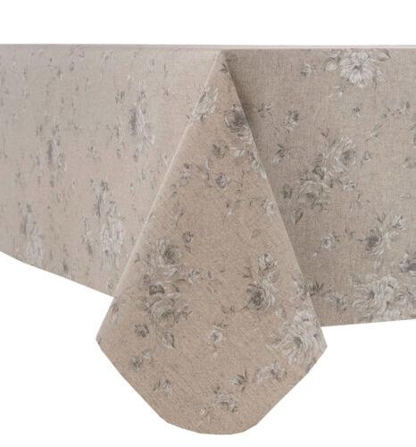 Acrylique Coated Table tissu petite fleur gris Val beige blanc feuilles Essuyer Capable