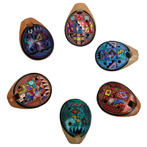 OKARINA-FLÖTE 1 Stück aus Ton buntes Muster Ocarina Peru Tonflöte genial NEU