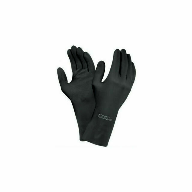Extra Heavy Duty INDUSTRIAL Black Rubber Latex Gloves Long Gauntlet 5 x pairs