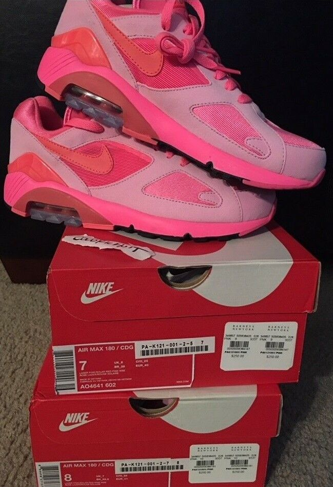 DS CDG Nike Air Max 180 US 7 8 AO4641 602 Comme des Garcons