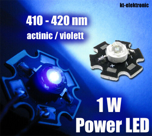 5 Stück 1W Power LED actinic violett 410-420nm Uf=3,3V Starplatine Imax=350mA