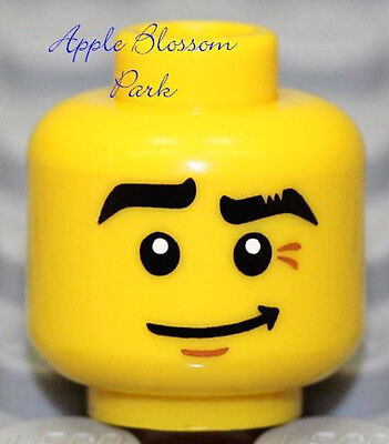 NEW Lego City Boy MINIFIG HEAD w/Sly Smile Grin - Police Agent Pirate Ninja Male