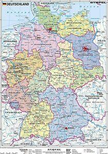 Poster Deutschlandkarte Politisch Mit Beleistung Hochformat 67 X