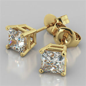 4-00-Ct-Princess-Cut-Diamond-Earring-Stud-14K-Solid-Yellow-Gold-Earrings-A1