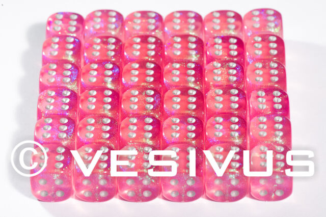 DICE Chessex Borealis PINK Mini 36d6 d6 Block Set Clear 12mm D&D Girl 27804