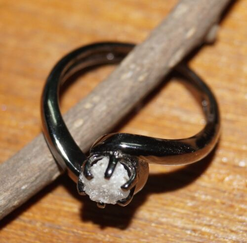 Details about  /Natural White Diamond Rough Diamond Ring Raw Diamond Ring .925 silver ring Nr 00