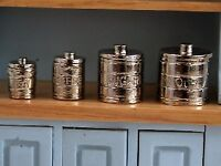Dolls House Miniature 1/12th Scale Set of 4 Silver Coloured Kitchen Canisters