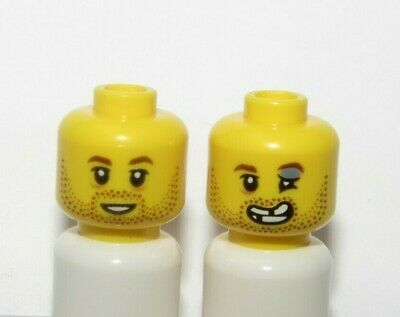 Lego 1 Minifigure Reversible Head Boy Man Beard Stubble Black Eye Boxer Rugby