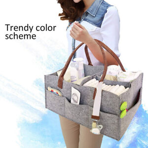 Baby-Diaper-Organizer-Caddy-Felt-Changing-Nappy-Storage-Carrier-Bag-Portable