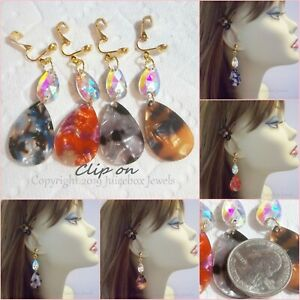 Image Is Loading Clip On 2 034 Teardrop Acrylic Rhinestone Dangle