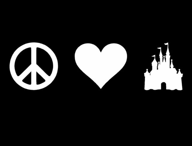 PEACE LOVE HAPPINESS CASTLE VINYL DECAL HEAD SIGN HAPPY DISNEY STYLE FAIRY TALE