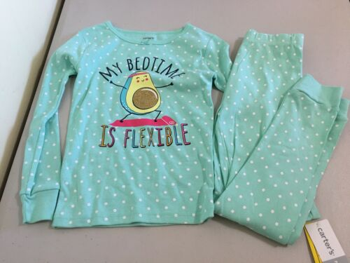 New Carter/'s Girls Avocado Pajama 2pc Set Snug fit Long Sleeve Pants Turquoise