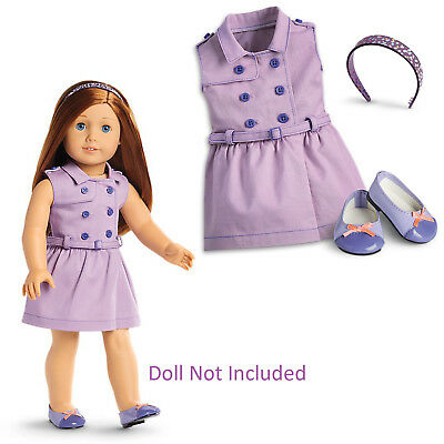 American Girl Truly Me TRAVEL IN STYLE DRESS Outfit Purple ballet shoes headband
