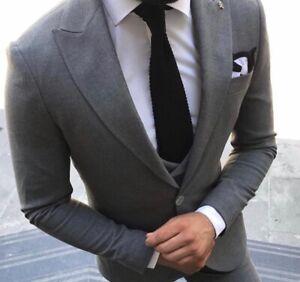buy online e88ad 33e40 Details zu Slim Fit Herrenanzug in Anthrazit mit  Weste,-Smoking-Anzug-Hochzeit-Bühne-Sakko