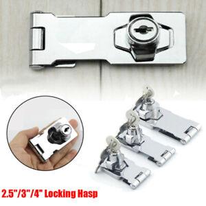 "2.5/""//3/""//4/""Locking Hasp and Staple with Keys Padlock Cupboard Shed Garage Lock UK"