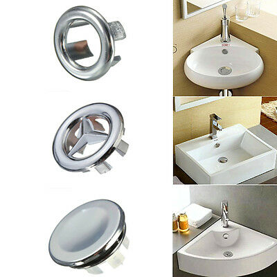 3 Types Round Overflow Cover Bathroom Basin Spare Sink Tidy Trim Chrome Insert