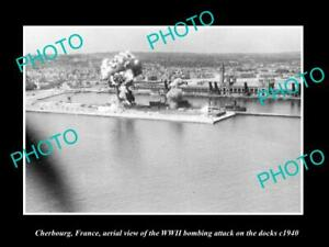 OLD-POSTCARD-SIZE-MILITARY-PHOTO-CHERBOURG-FRANCE-AERIAL-VIEW-BOMBING-c1940