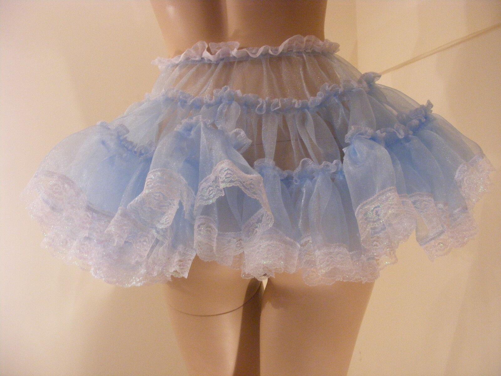 SISSY ADULT BABY FANCY DRESS blueE ORGANZA MICRO MINI SKIRT 11 LONG COSPLAY
