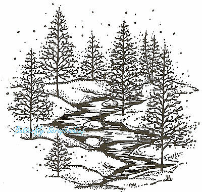 PINE TREES WITH CARDINALS SCENE Wood Mounted Rubber Stamp NORTHWOODS P10157 New