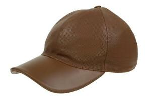 3f87b543108b NEW GUCCI EXTRA SOFT BROWN PERFORATED LEATHER LOGO BASEBALL BALL CAP ...