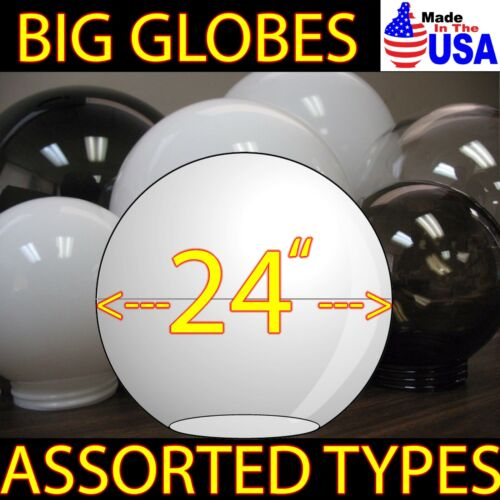 "BIG 24/"" LIGHT GLOBE ACRYLIC *USA MADE* SPHERE REPLACEMENT Plastic COVERS"