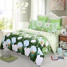 4Pcs 3D White Tulip Queen Size Bedding Set Flower Print Comforter Set A0K0