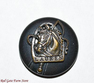 "vintage Ralph Lauren Black horse equestrian button 3/4"" shank RL17"