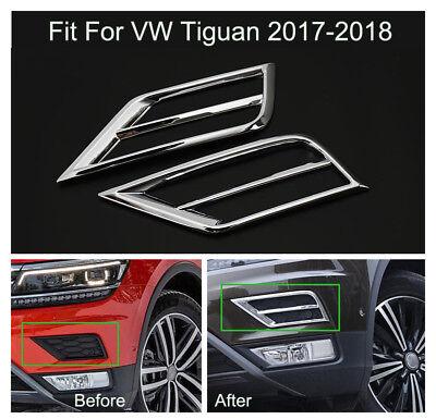 ABS Chrome Front Fog light lamp Cover Trims For Volkswagen VW Tiguan 2017 2018