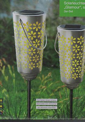 Unparteiisch 2er Set Solarleuchten Glamour Silber Solarstecker Gartenstecker Solarlicht Facke Zur Verbesserung Der Durchblutung