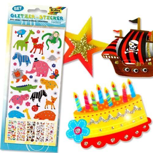 Glittersticker Set qui brille Autocollants fantaisie-Sticker 5 fiches