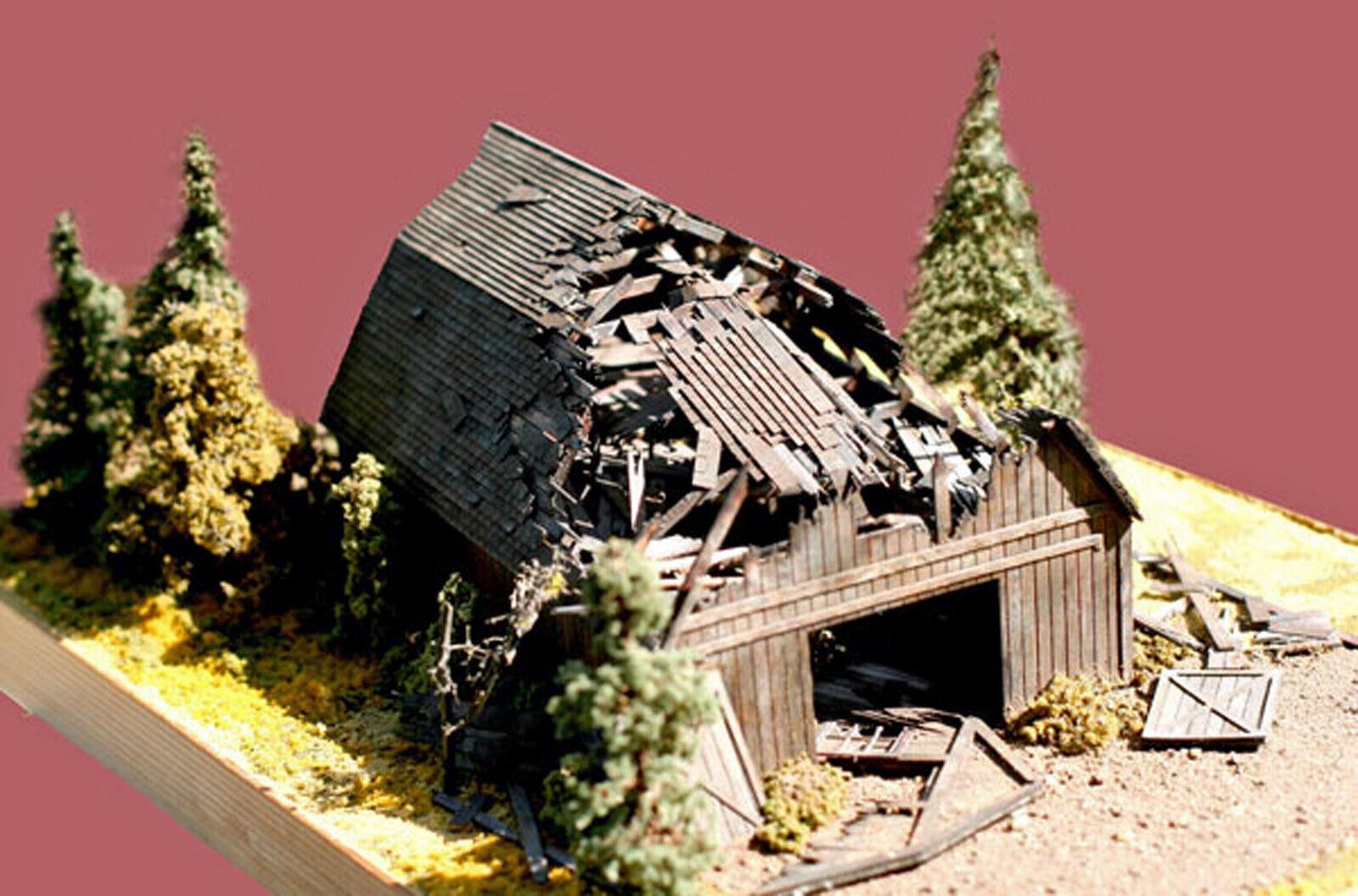 FALLEN BARN HO Model Railroad Structure Unpainted Laser-Cut Wood Kit LA649