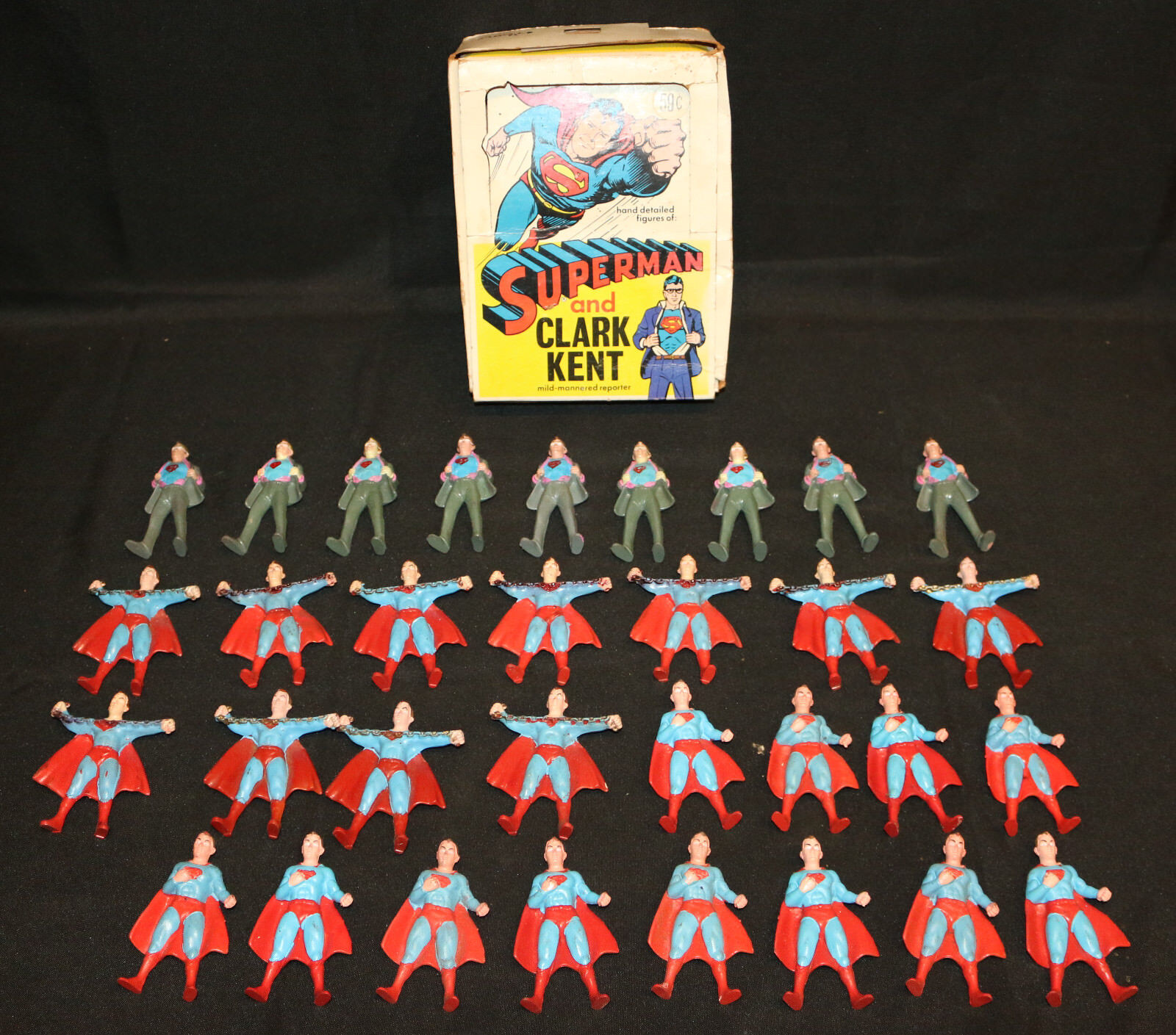 Superman and Clark Kent Figures & Display Box by Chemtoy Corp - 32pc LOT - 1973