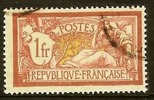 FRANCE-TIMBRE-STAMP-N-121-034-TYPE-MERSON-1F-LIE-DE-VIN-ET-OLIVE-034-OBLITERE-TB