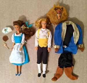 1990-039-s-Disney-Beauty-and-the-Beast-Belle-and-Prince-Beast-dolls-Vintage-Barbie