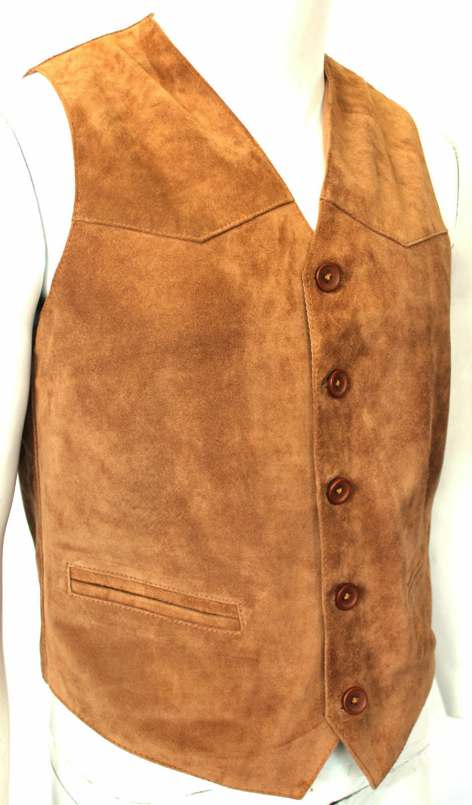 Vipzi Men Western Braun/Tan Suede Leder Vest with Fringe ALL SIZE