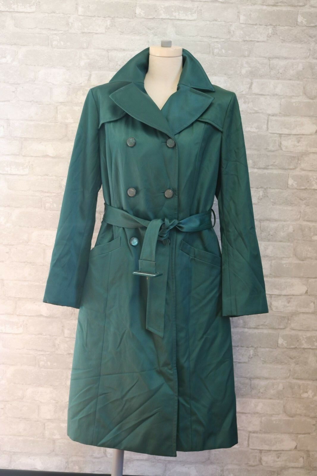 LKNW Cole Haan Collection Emerald Green Trench Coat 12