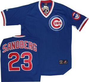 buy popular cb90e 6dc7e Details about New Ryne Sandberg Chicago Cubs Throwback Royal Jersey  Majestic A6240