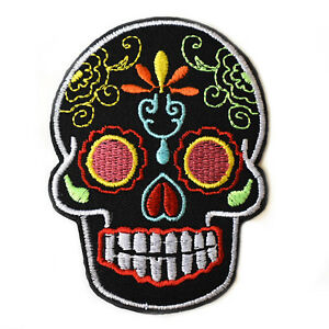 Sugar-Skull-Black-Iron-On-Patch-Embroidered-Sew-On-candy-skulls-day-of-the-dead