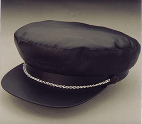 Black Vinyl BIKER CAP Hat w// Chain punk costume goth tough guy 50s rockabilly