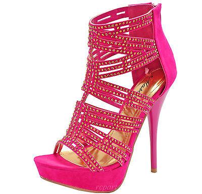 New women's shoes open toe back zipper platform fuchsia party studs stilettos