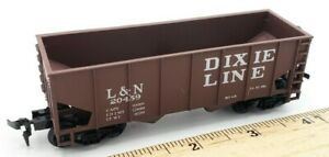 HO-Scale-Train-Louisville-amp-Nashville-Dixie-Line-2-Bay-Brown-Hopper