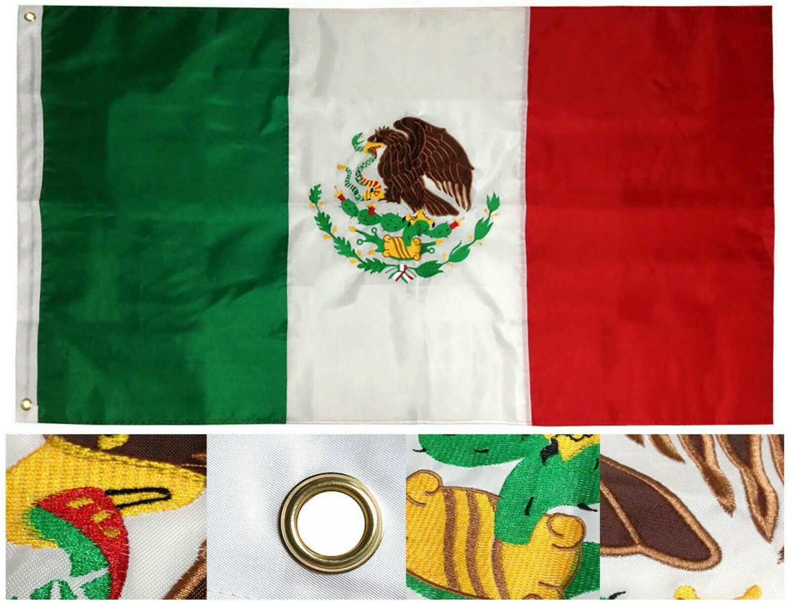 3' X 5' 3x5 Mexico Flag Embroidered Mexican Flag 2 Double Sided Nylon USA  Ship for sale online   eBay
