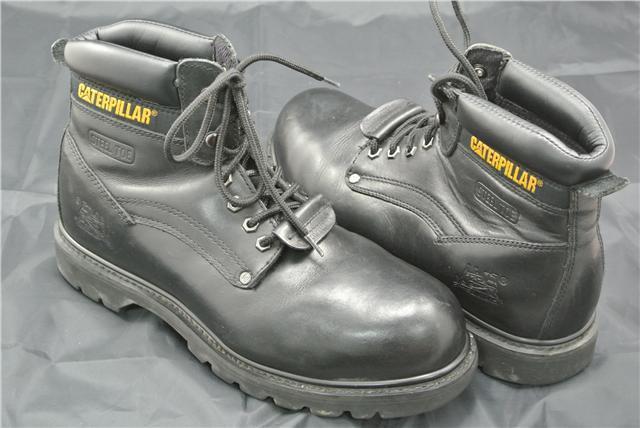 CATERPILLAR BOOTS SIZE 9 UK CAT WORK BLACK STEEL TOE OIL RESISTANT BLACK WORK LEATHER 32d8c6