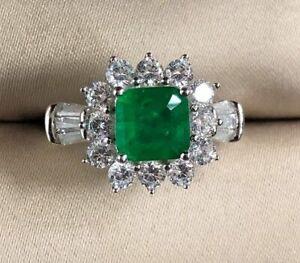 Vintage-Damen-Ring-Echt-Silber-925-8-8-mm-Smaragd-Edelstein-Damenringe-Geschenk