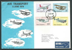 1974 New Zealand Fdc Air Transport No Timbro Arrivo - V Nouveau Design (En);