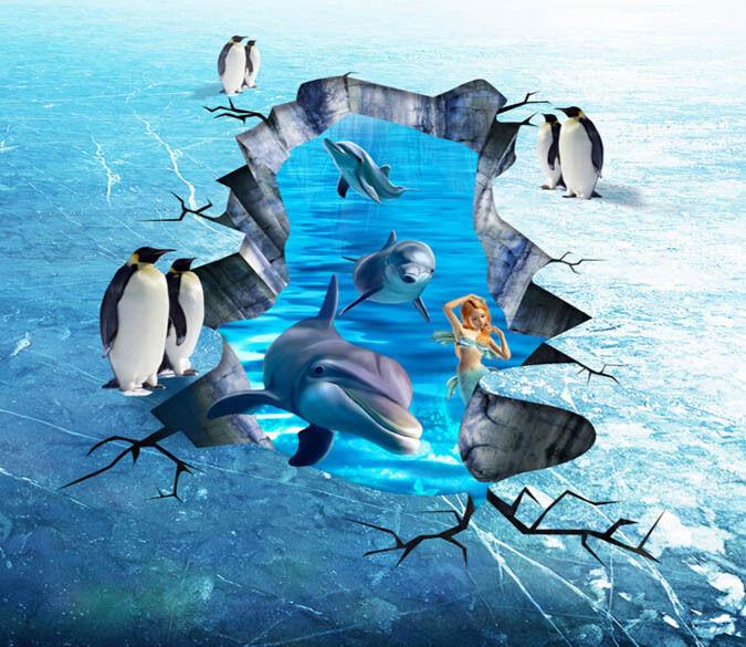 3D Ice Surface Dolphin  Floor WallPaper Murals Wall Print Decal 5D AJ WALLPAPER