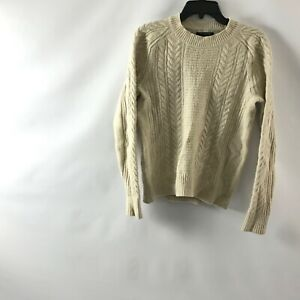 Details about Banana Republic Womens M Chunky Cable Knit Sweater Merino Wool Blend Ivory