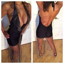 Backless Black Halter Maxi dress w/ Mesh Leopard ruffle collar & skirt S