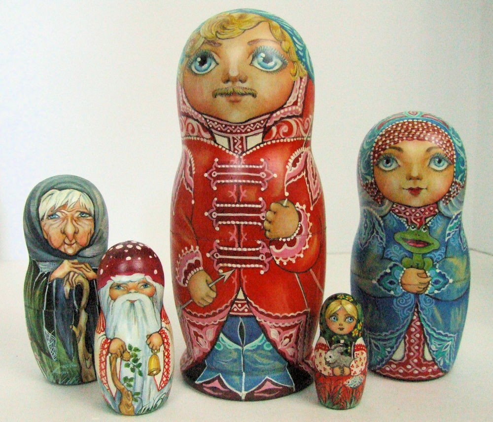5pcs. Hand Doll Painted Russian Nesting Doll Hand